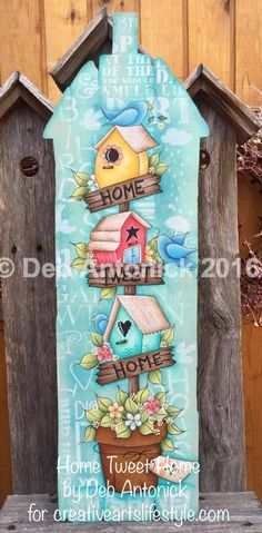 Preschool Crafts That Are Simple And Fun Art And Craft Design, Design Crafts, Fabric Painting, Painting On Wood, Arte Country, Tole Painting Patterns, Bird Houses Painted, Spring Painting, Country Paintings