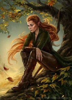 f Elf Ranger Leather Longbow Daggers forest hills hilvl Beautiful fan art! Tauriel, the Hobbit Legolas, Tauriel, Thranduil, Gandalf, Dnd Characters, Fantasy Characters, Female Characters, Art Hobbit, Character Portraits