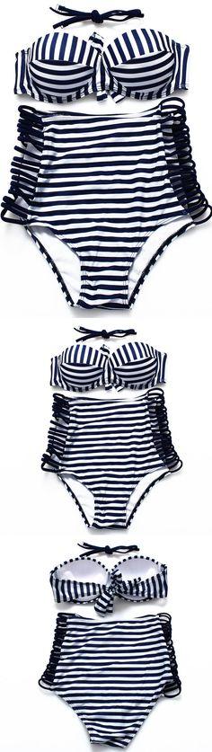 Navy Blue Striped Bikini Set