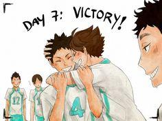 iwaizumi, oikawa, matsukawa, kunimi, kindaichi, victory, hug, http://silencedmoment.tumblr.com/post/104956310298/day7-victory-30-day-iwaoi-challenge
