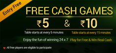 Play free cash games for every 5 minutes with Rs. 5 and Rs. 10 for every 15 minutes to have more fun and win real cash.  https://www.classicrummy.com/play-free-win-real-cash?link_name=CR-12