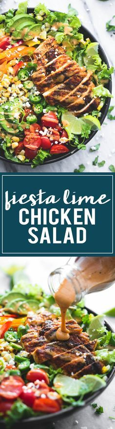 Fiesta Lime Chicken Salad with Chipotle Dressing | http://lecremedelacrumb.com