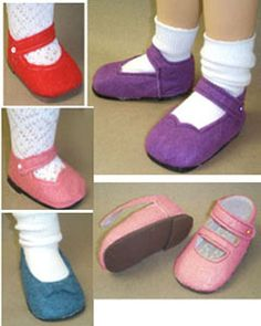 """Pattern ~ for 18"""" dolls such as those offered by American Girl® ~  Felt Shoe Pattern"""