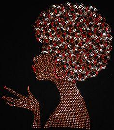 Rhinestone embellished bling T-Shirt or Tank Top. by YouToATee Rhinestone embellished bling T-Shirt Black Women Art, Black Art, Rhinestone Tshirts, African Art Paintings, Natural Hair Art, Dot Art Painting, Afro Art, Magic Art, Mandala Art