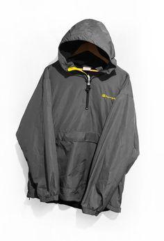 d19bb0a7ec63 Champion Windbreaker jacket Half Zip Fleece Lined Anorak Pullover 90s  Vintage Spell Out Gray Size XL