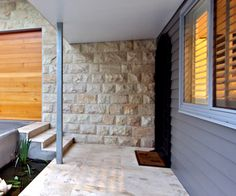 Stone wall and primelok smooth weathertex Cladding, Building Design, Seaside, Facade, Restoration, Garage Doors, New Homes, Exterior, Full House