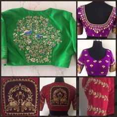 Beautiful designer blouse coleection by Sunaina Rao. Busnch of design blouse collection with hand embroidery work. 28 November 2017