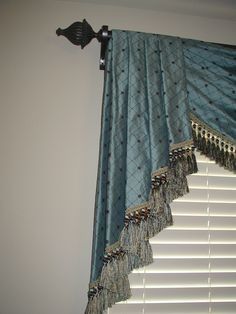 Detail of formal pleated & fringed rod valance