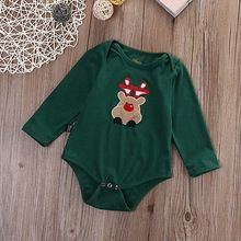 Christmas Infant Baby Boy Girl Deer Long Sleeve Romper Cotton Jumpsuit Playsuit Outfits One-piece Costume(China (Mainland))