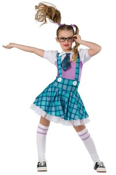 Style# 17449 BACK TO SCHOOL  White and lilac spandex leotard with plaid printed spandex overlays and attached skirt. Attached multicolor sequined boucle tie with felt lining. Separate white chiffon ruffled underskirt. White button applique trim. Socks and ribbon for hair included. SC-XXLA