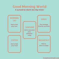 Good Morning, World Layout   tarot card spread to start the day with   oracle cards   divination