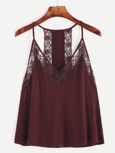 Burgundy Contrast Lace Cami Top — € ------------------------color: Burgundy size: one-size Cami Tops, Summer Outfits, Casual Outfits, Fashion Outfits, Crop Top Dentelle, Cute Blouses, Mode Style, Spring Summer Fashion, Dress To Impress