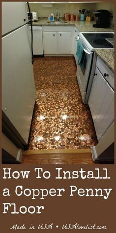 How To Install A Copper Penny Floor - A Made in USA DIY Project ideas flooring crafts projects crafts for adults solar craft projects ideas Penny Boden, Home Renovation, Home Remodeling, Camper Renovation, Copper Penny, Copper Art, Diy Flooring, Penny Flooring, Plywood Floors