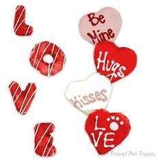 Valentines Dog Treats four Hearts with Love, Be Mine,