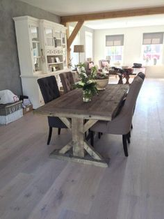 kloostertafel (19) Farmhouse Dining Room Table, Trestle Dining Tables, Dinning Table, Dining Area, Open Plan Kitchen Living Room, Dinner Room, Sweet Home, Interior Design, Furniture