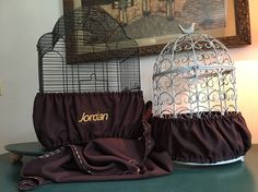 Handcrafted Brown Fabric Bird Cage Seed Catcher Skirt Guard or Cover XS-XXL #Handmade
