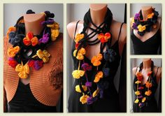 infinity scarf with crochet flowers