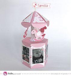Mini album para bebé formato carrusel. Manualidades con papel Anita y su mundo.