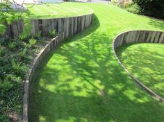 Retaining walls help create a gentle slope