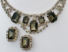 Vintage Rhinestone Set Necklace Earrings Runway Hi End Charcoal Smoke Prong Set | eBay