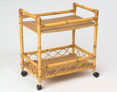 60s Bamboo & Rattan Bar Cart / Tiki Tropical Ethnic Woven Drinks Trolley / Mid Century Wooden Home Decor Portable Tray