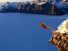 Jumping off a cliff.  Looks like fun. Not.