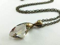 Antiqued Brass Necklace Smoky Brown Necklace Crystal Jewelry