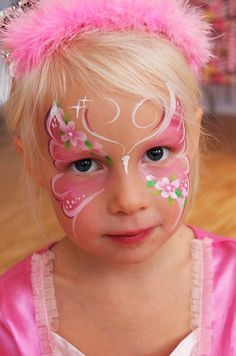 darling butterfly---she's so cute Face Painting Flowers, Face Painting Tips, Butterfly Face Paint, Girl Face Painting, Belly Painting, Face Painting Designs, Painting For Kids, Butterfly Flowers, Pink Flowers