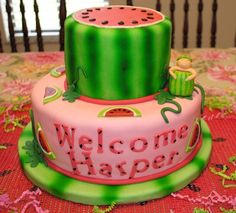 One of my favorite baby shower cakes for a watermelon themed party!