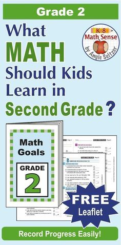 "This printable leaflet lists 47 ""I Can"" goal statements for Grade 2. It aligns to Common Core but can be used with any math curriculum. Print just three sheets and assemble. It's a great handout for parents! ~by Angie Seltzer"