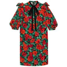 Gucci Poppy Snake Jacquard Dress (30.915 ARS) ❤ liked on Polyvore featuring dresses, ready to wear, women, puffed sleeve dress, floral print dress, poppy dress, flower pattern dress and floral day dress