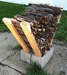 small outdoor firewood storage diy - Google Search