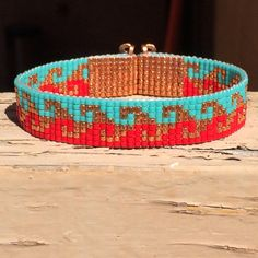 Bright Swirl Bead Loom Bracelet Bohemian Boho door PuebloAndCo