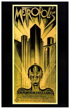 Metropolis is a 1927 German expressionist epic science-fiction film directed by Fritz Lang. The film was written by Lang and his wife Thea von Harbou, and starred Brigitte Helm, Gustav Fröhlich, Alfred Abel and Rudolf Klein-Rogge. A silent film, it was produced in the Babelsberg Studios by UFA. It is regarded as a pioneer work of science fiction movies, being the first feature length movie of the genre.