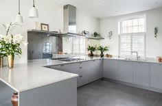 Bespoke Kitchen Joinery by EMR Home Design. Painted Moles Breath by Farrow & Ball.