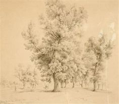 Antonin Manes (Czech, Landschaft mit Reiter, 1836 sepia on paper Tree Study, Drawing Sketches, Drawings, Past, Czech Republic, Painters, Places, Outdoor, Horseback Riding