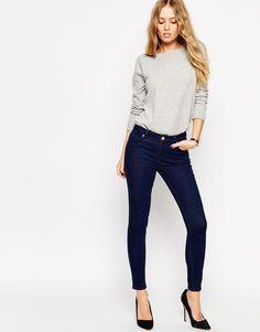 ASOS Lisbon Midrise Skinny Ankle Grazer Jeans In Eden Deep Indigo