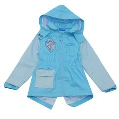 Girls Official Disney Frozen Elsa Waxed Jacket With Hood