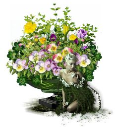 , to a green container, in celebration of St. Floral Arrangements, Floral Wreath, Wreaths, Green, Polyvore, Home Decor, Art, Art Background, Flower Crowns