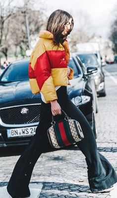 Puffer Jacket + Wide-Leg Trousers (6 Winter Style Tricks No One Ever Taught You via @WhoWhatWear)