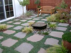 Flagstone patio with no or low maintenance filling in between for a low maintenance lawn.