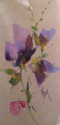 "The Purples   Oriental Watercolors       3""x 6""  Study Robin Miller (Bookhout)"