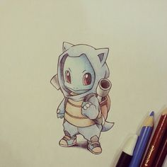 Squirtle in his Blastoise hoodie and backpack set by itsbirdy