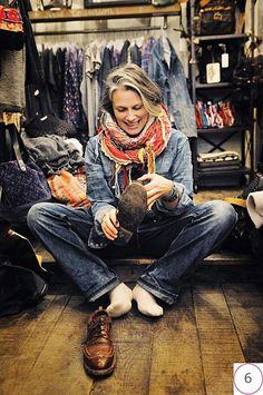 Denim. Brogues. Grey hair. Cool scarf. When I'm old, I hope I can rock it like her. Mom- I think you can do this too.
