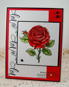 My English Rose stamp set by Power Poppy, card design by Stacy Morgan