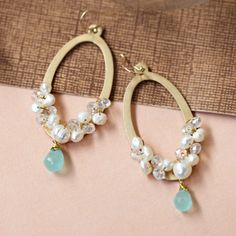 I want to make some pearl earrings with a navy jewel for my wedding