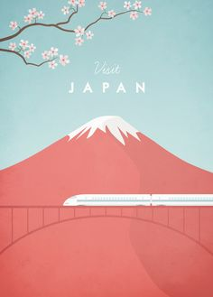 Vintage style travel poster of Japan. An original illustration for Travel Poster… Vintage style travel poster of Japan. An original illustration for Travel Poster Co. by Henry Rivers. Japan Illustration, Travel Illustration, Digital Illustration, Design Japonais, Art Japonais, Japan Design, Japan Graphic Design, Posters Decor, Design Posters
