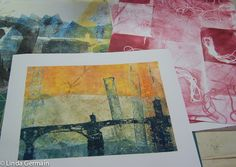 To get a clean edge monotype print on the gelatin plate you can prepare the paper with low adhesion masking tape.