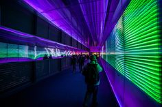 a cadenced wave pattern of sound palpitates from the walls with light diffracting within the alveolar polycarbonate panels image © miguel chevalier