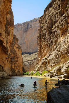 the Rio Grande River through Santa Elena Canyon in Big Bend National Park.  Texas on the right, Mexico on the left. Precious little water in the space between.